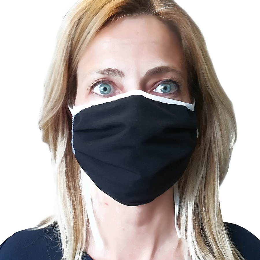 mascherina lavabile personalizzabile logo nera